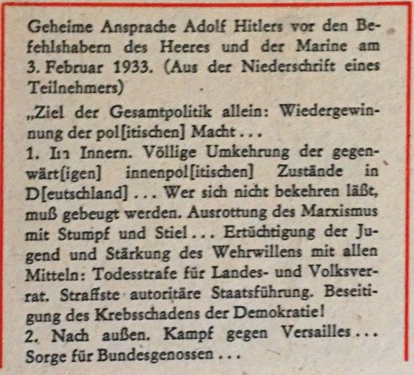 Geheime Ansprache Hitlers 03.02.1933