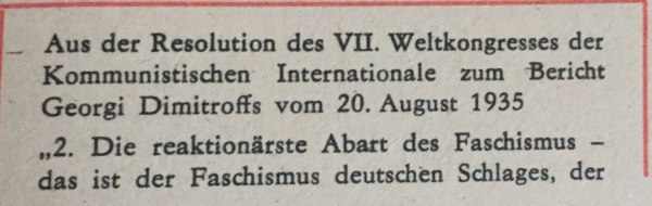 Resolution VII Weltkongress KOM. Internationale 1935