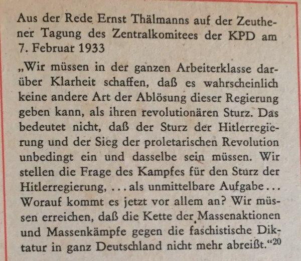 aus Rede Ernst Thälmanns 07.02.1933