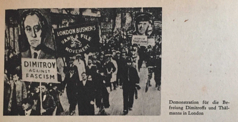 Demonstration in London für die Befreiung Dimitroffs und Thälmanns