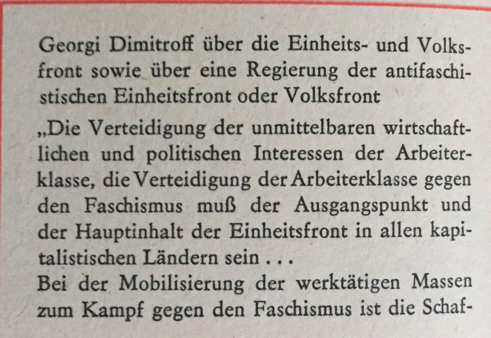 Georgi Dimitroff über Einheits- und Volksfront
