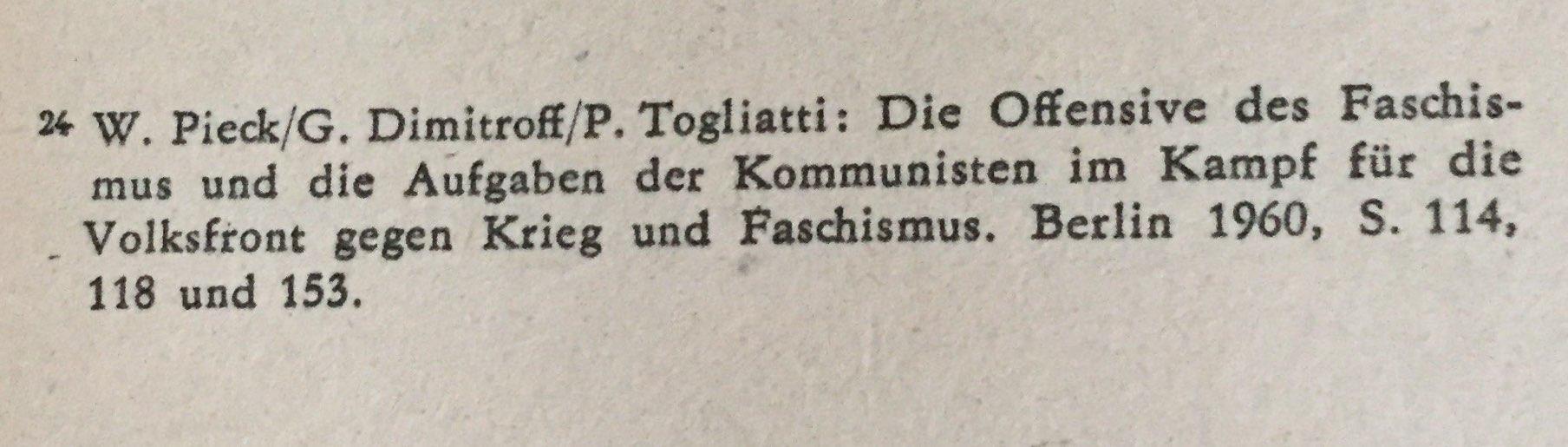 Quellenangabe Dimitroff über Einheits- und Volksfront