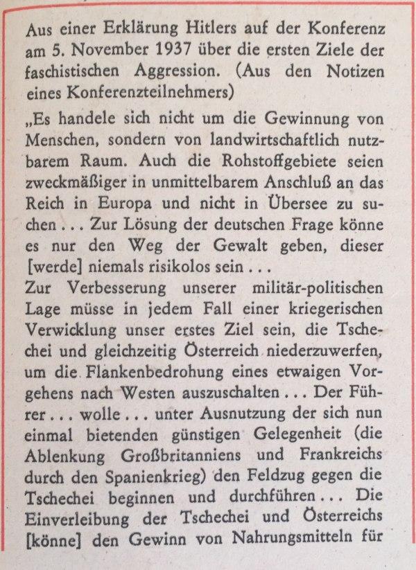 Aus Erklärung Hitlers über erste Ziele faschistischer Aggression