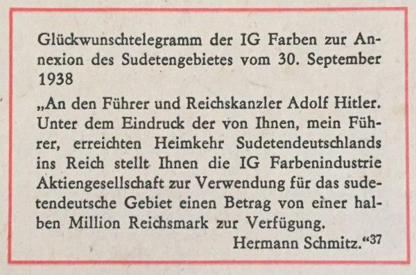 Glückwunschtelegramm der IG Farben 1938