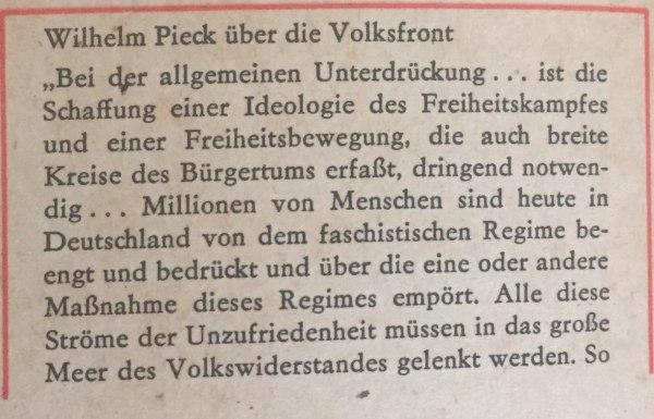 Wilhelm Pieck über Volksfront