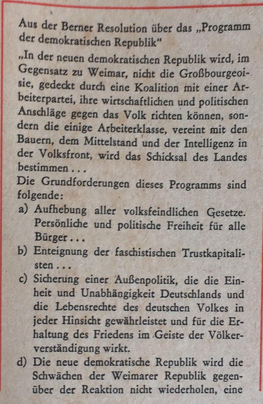 Berner Resolution Programm demokratische Republik