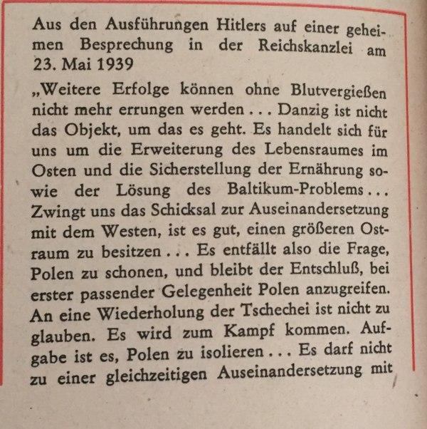 Hitler geheime Besprechung in Reichskanzlei 23.05.1939