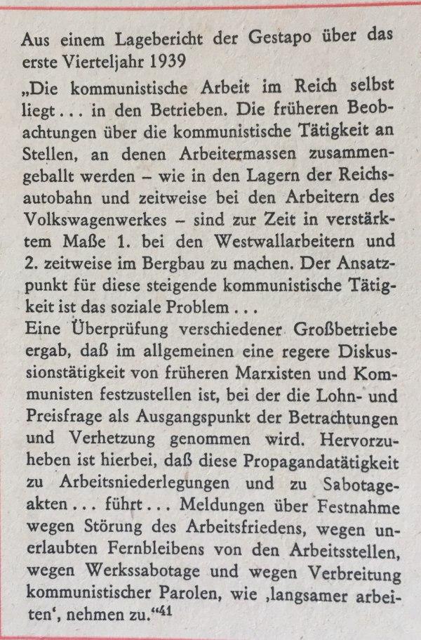 Lagebericht der Gestapo erstes Quartal 1939