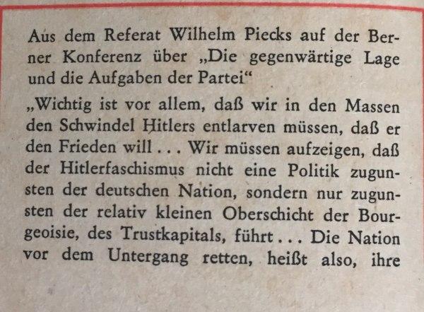 Referat Wilhelm Pieck auf Berner Konferenz