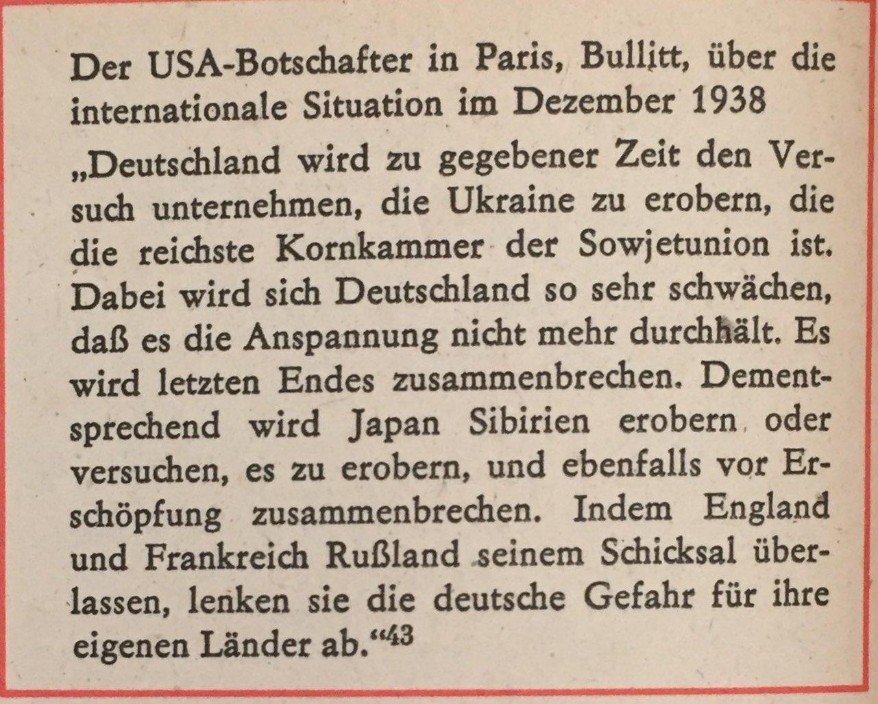USA-Botschafter über internationale Situation Dezember 1938