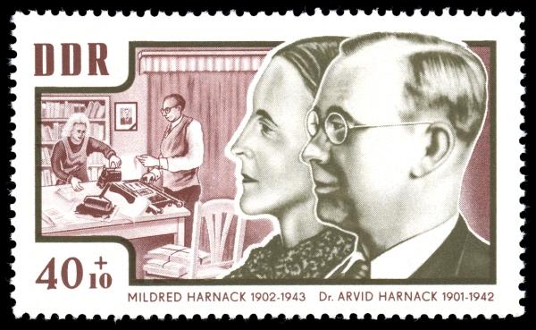 40+10 Pfennig-Sondermarke der DDR-Post 1964 mit Arvid Harnack und seiner Frau Mildred