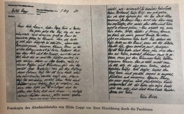Abschiedsbrief von Hilde Coppi