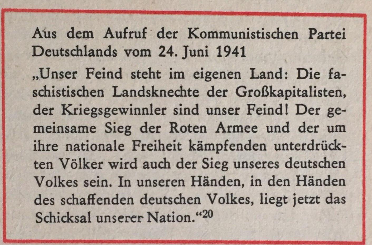 aus Aufruf der KPD vom 24. Juni 1941