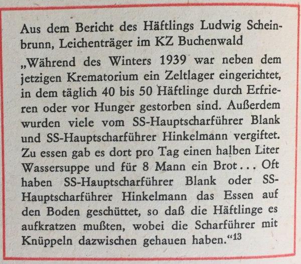 Bericht Leichenträger KZ Buchenwald
