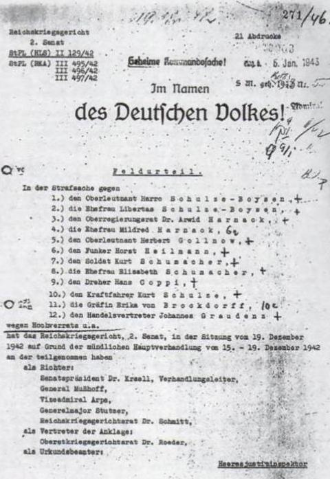 """""""Feldurteil"""" des Reichskriegsgerichts vom 19. Dezember 1942"""