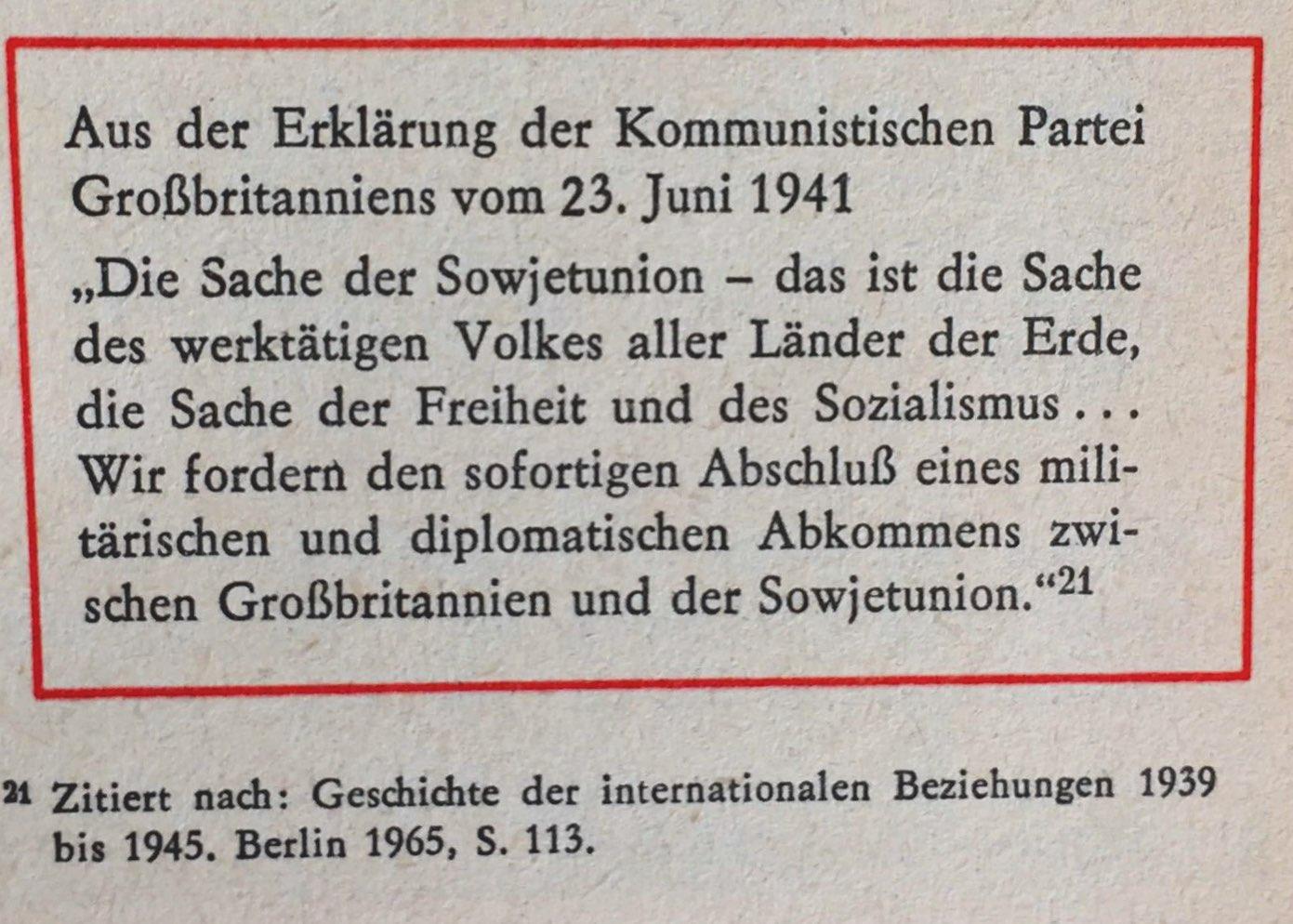 Aus Erklärung der Kommunistischen Partei Großbritanniens vom 23.06.1941