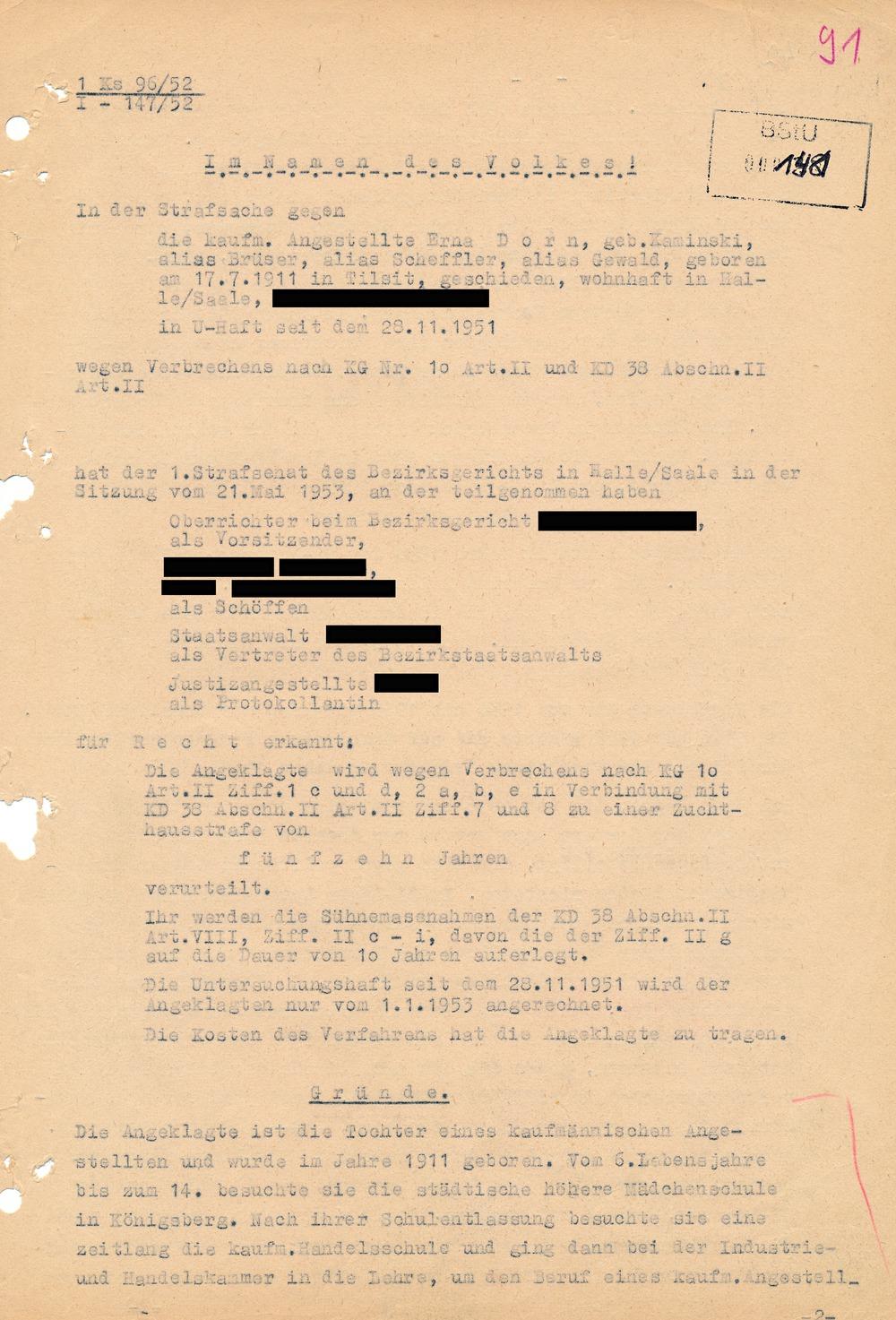 Gerichtsurteil vom 21. Mai 1953 im Fall Erna Dorn