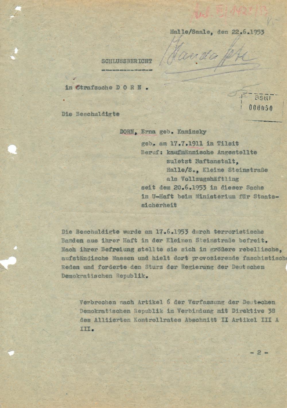 Schlussbericht in der Strafsache Dorn  Halle/Saale, den 22.06.1953